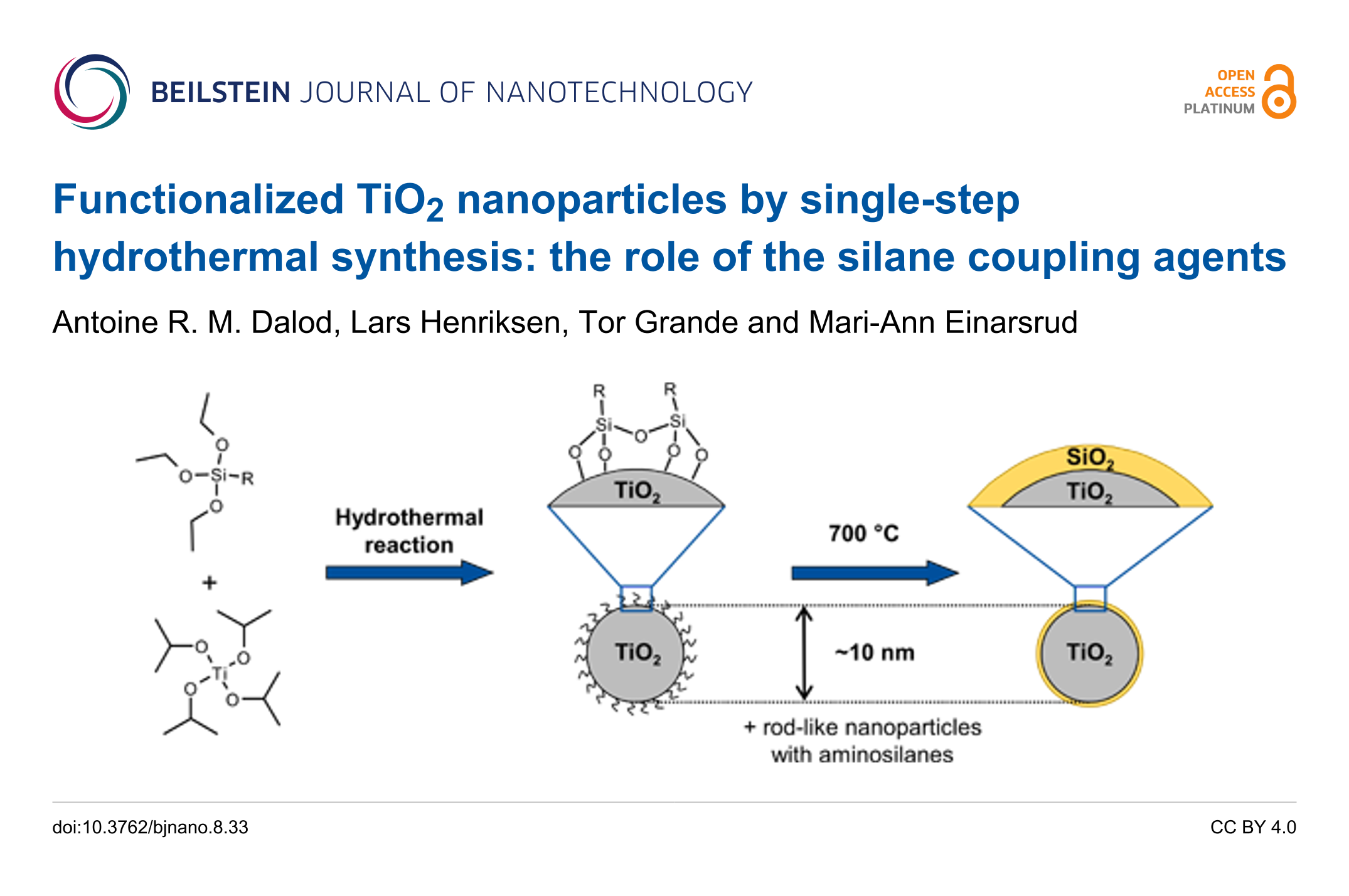 Functionalized TiO2 nanoparticles by single-step