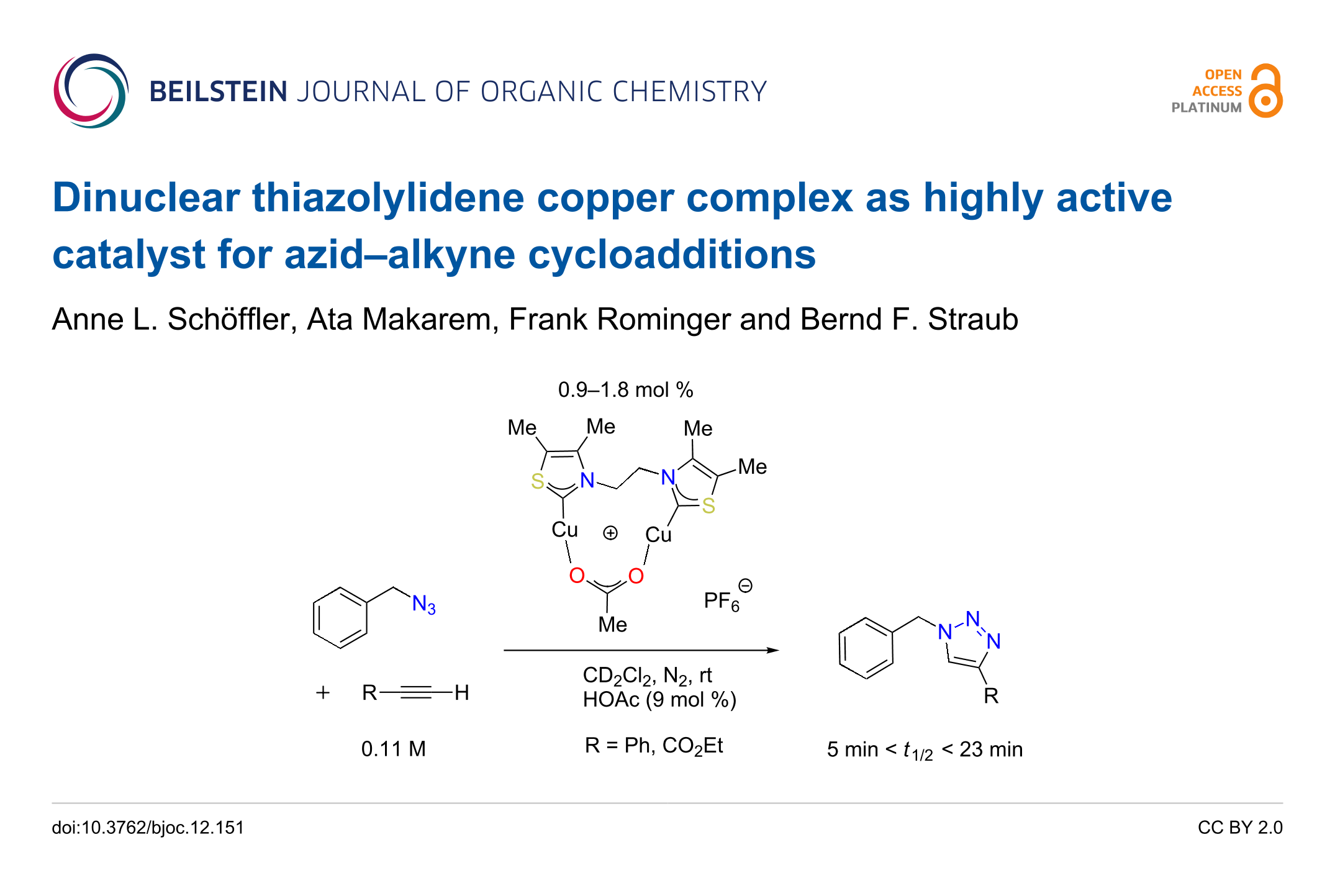 Dinuclear Thiazolylidene Copper Plex As Highly Active Catalyst