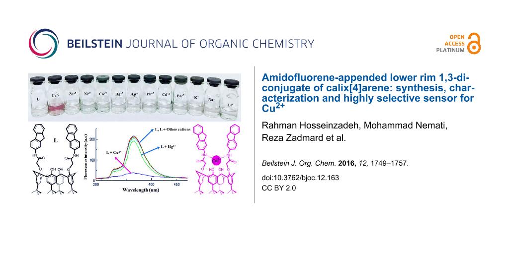 Amidofluorene-appended lower rim 1,3-diconjugate of calix[4