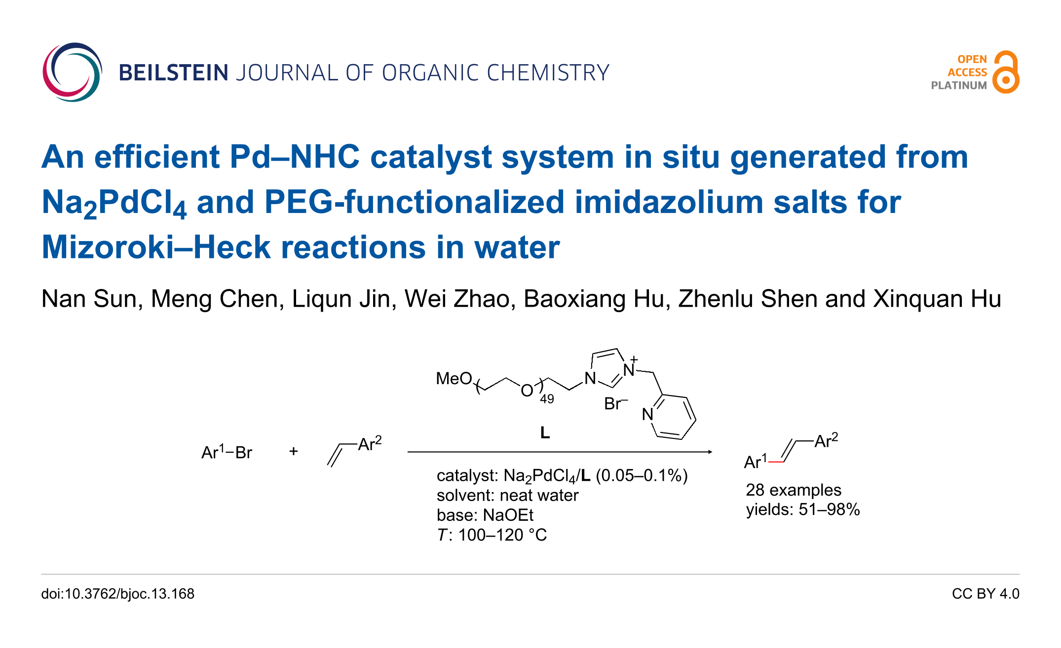 An Efficient Pdnhc Catalyst System In Situ Generated From Na2pdcl4