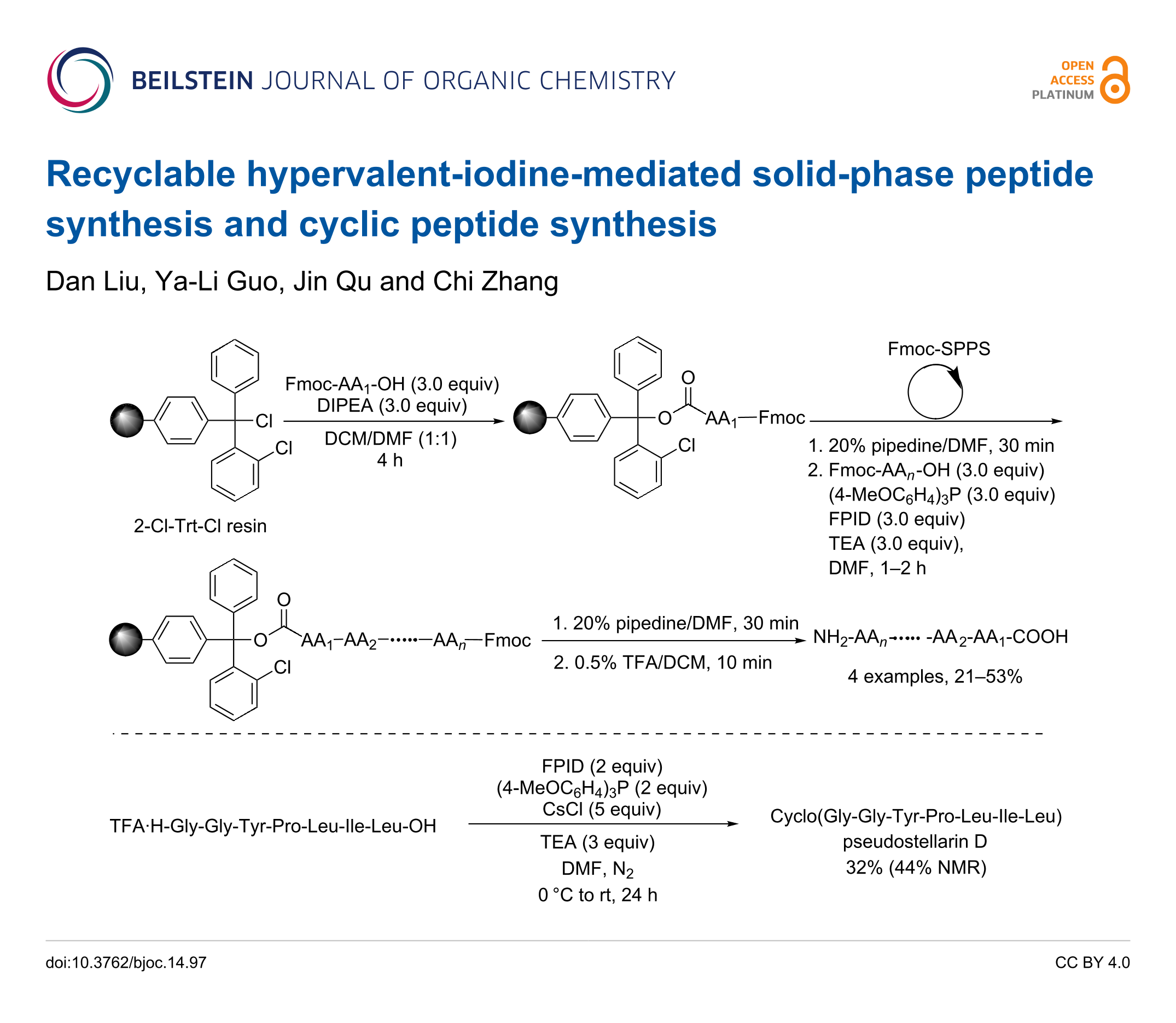 Recyclable hypervalent-iodine-mediated solid-phase peptide