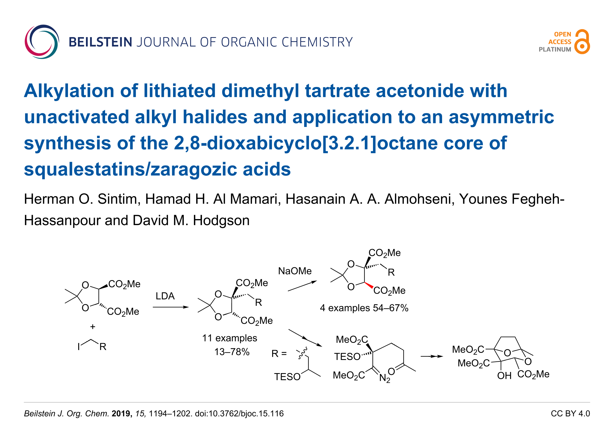 Alkylation of lithiated dimethyl tartrate acetonide with unactivated