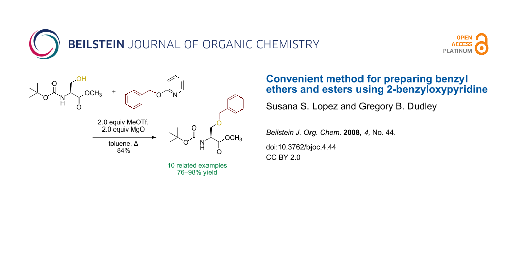 Convenient method for preparing benzyl ethers and esters using 2