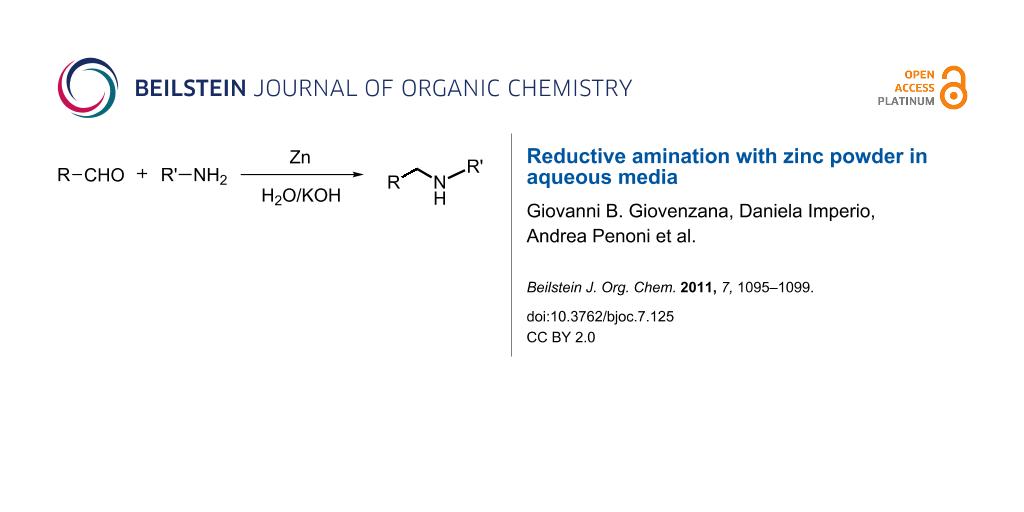 Reductive amination with zinc powder in aqueous media