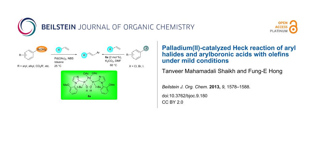 Palladium(II)-catalyzed Heck reaction of aryl halides and ...