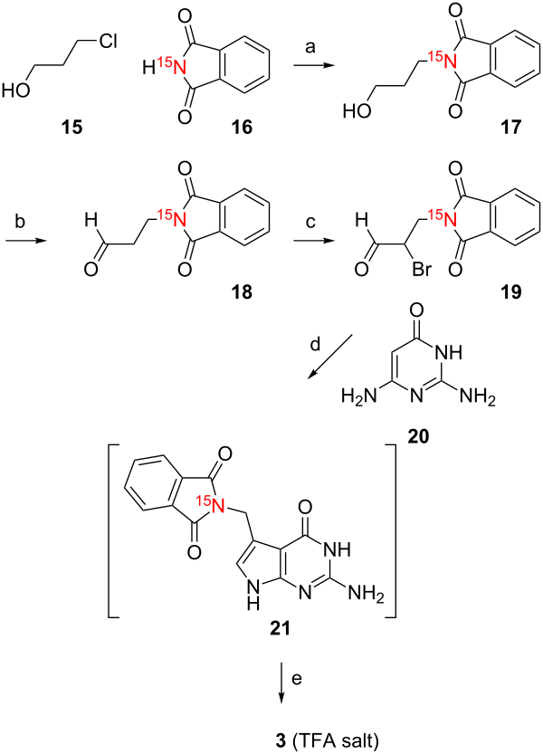 Syntheses of 15N-labeled pre-queuosine nucleobase derivatives