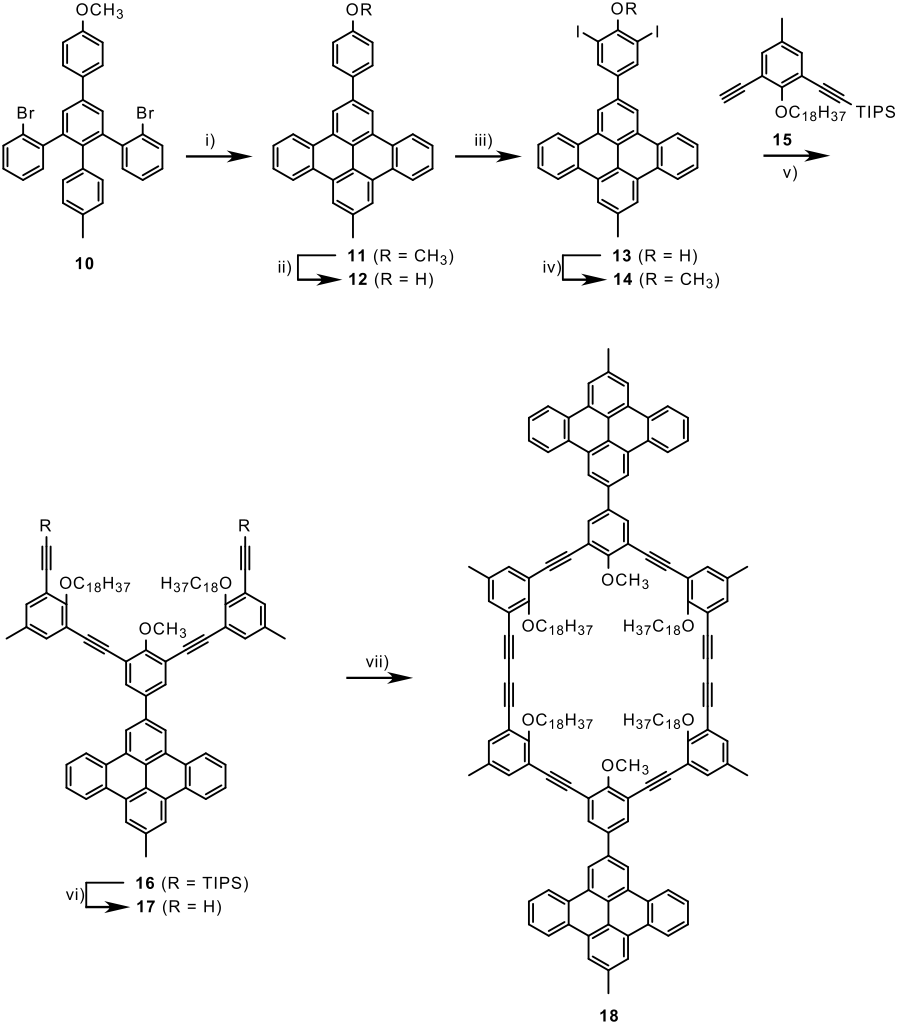 Shape-persistent macrocycle with intraannular alkyl groups